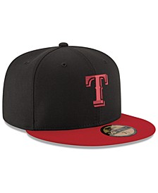 Texas Rangers Black & Red 59FIFTY Fitted Cap