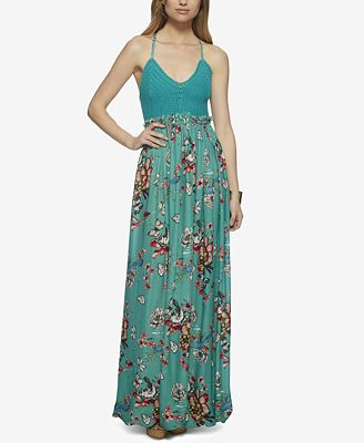 Jessica Simpson Crochet-Bodice Printed Maxi Dress - Juniors ...