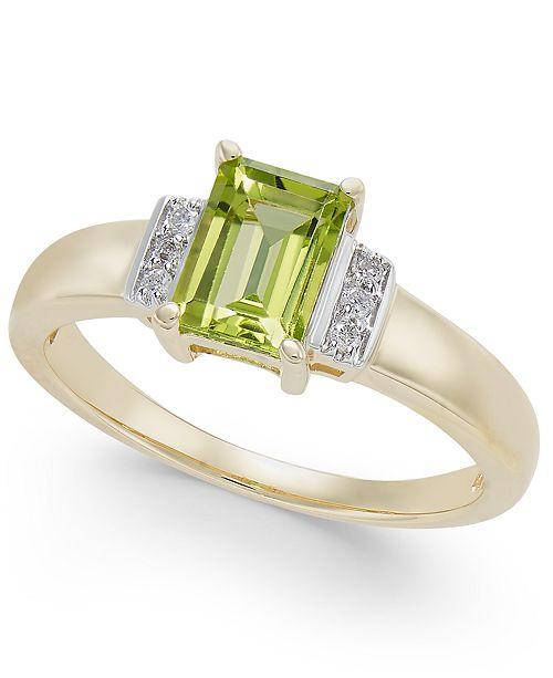 Macy's Peridot (1 ct. t.w.) & Diamond Accent Ring in 14k Gold