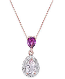 Multi-Gemstone (1-1/8 ct. t.w.) & Diamond (1/6 ct. t.w.) Pendant Necklace in 14k Rose Gold