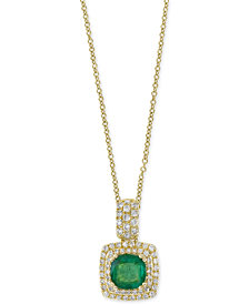 Final Call by EFFY® Emerald (7/8 ct. t.w.) & Diamond (1/3 ct. t.w.) Pendant Necklace in 14k Gold