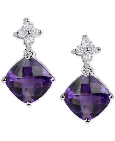 Amethyst (4-1/2 ct. t.w.) & Diamond (1/5 ct. t.w.) Drop Earrings in 14k White Gold