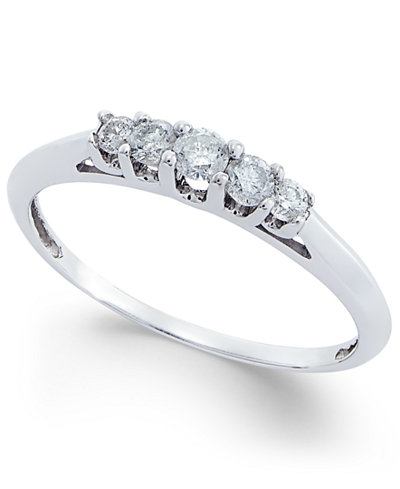 Diamond Five Stone Step Ring (1/4 ct. t.w.) in 14k White Gold