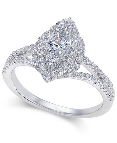 Diamond Marquise Cluster Halo Ring (3/4 ct. t.w.) in 14k White Gold