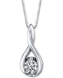 Sirena Diamond Twist Pendant Necklace in 14k White Gold (1/8 ct. t.w.)