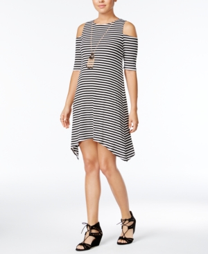 Crystal Doll Juniors Striped ColdShoulder Necklace Dress