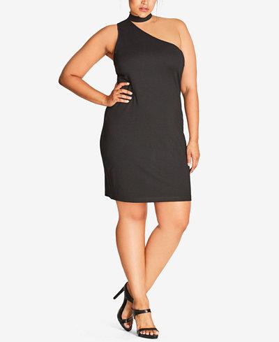 City Chic Trendy Plus Size Choker-Neck Bodycon Dress