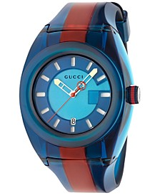 Unisex Swiss Gucci Sync Blue-Red-Blue Transparent Rubber Strap Watch 46mm