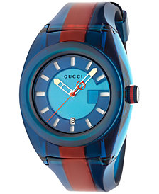Gucci Unisex Swiss Gucci Sync Blue-Red-Blue Transparent Rubber Strap Watch 46mm