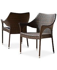 Set of 2 Chiese Wicker Chairs, Quick Ship