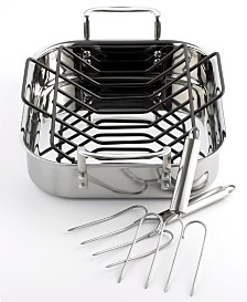 """Calphalon Tri-Ply Stainless Steel 14"""" Roaster with Roasting Rack & Lifters"""