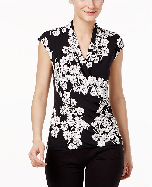 Vince Camuto Sleeveless Faux-Wrap Top, A Macy's Exclusive
