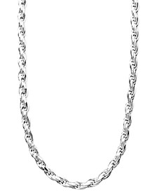 "Sterling Silver Necklace, 16-24"" Diamond Cut Rope Chain"