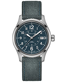 Hamilton Men's Swiss Automatic Khaki Field Blue Canvas Strap Watch 40mm