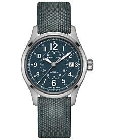 Hamilton Men's Swiss Automatic Khaki Field Blue Canvas Strap Watch 40mm