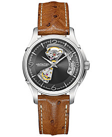 Hamilton Men's Swiss Automatic Jazzmaster Brown Leather Strap Watch 40mm