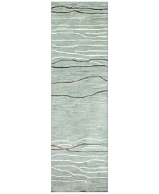 "Kenneth Mink Waves 2'6"" x 8' Runner Area Rug, Created for Macy's"