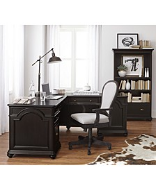 Clinton Hill Ebony Home Office L-Shaped Desk, Created for Macy's