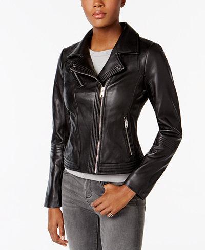 MICHAEL Michael Kors Leather Moto Jacket - Women - Macy's