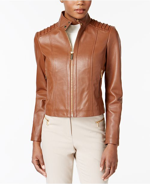 6c8d06dbe Michael Kors Stand-Collar Leather Jacket & Reviews - Coats - Women ...