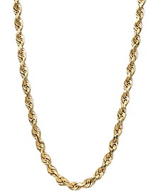 "14k Gold Necklace, 20"" Diamond Cut Rope Chain (3mm)"