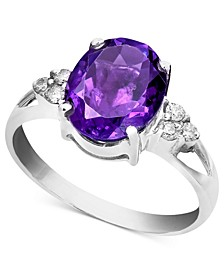 14k White Gold Ring, Amethyst (2-1/3 ct. t.w.) and Diamond Accent Oval