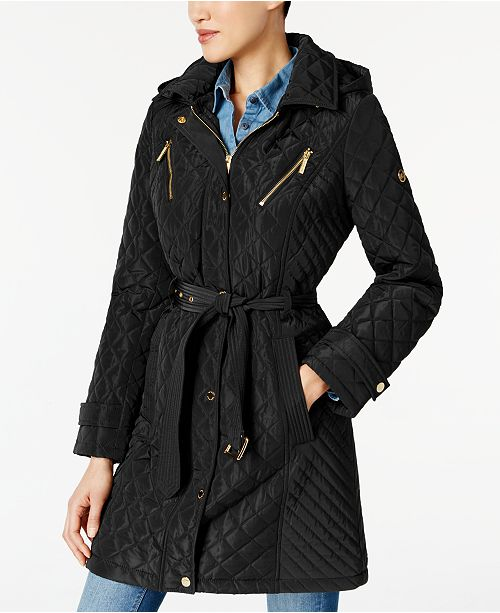 Michael Kors Water-Resistant Quilted Raincoat