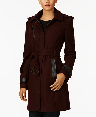 MICHAEL Michael Kors Faux-Leather-Trim Walker Coat