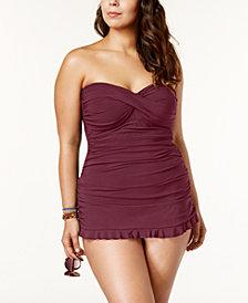 Profile by Gottex Plus Size Tummy-Control Ruched Ruffled Swimdress