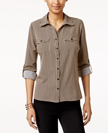 NY Collection Petite Printed Utility Shirt