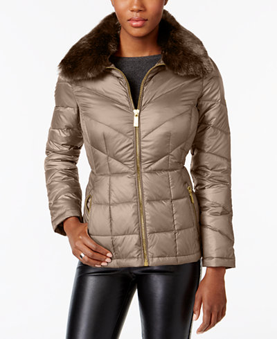 Kenneth Cole Faux-Fur-Collar Down Puffer Coat, A Macy's Exclusive ...