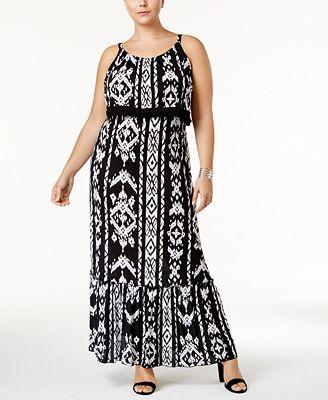inc international concepts plus size ikat-print fringe maxi dress