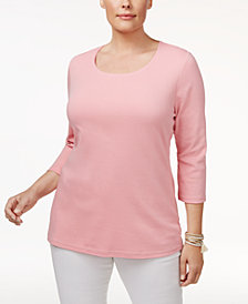Karen Scott Plus Size Cotton Scoop-Neck Top, Created for Macy's