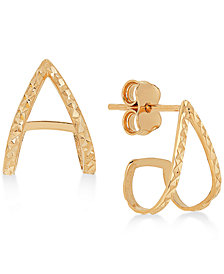 Textured Inverted V Huggie Hoop Earrings in 14k Gold
