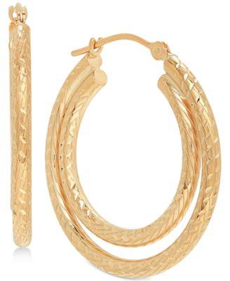 Textured Double Hoop Earrings in 14k Gold
