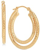 Textured Double Hoop Earrings in 14k Gold