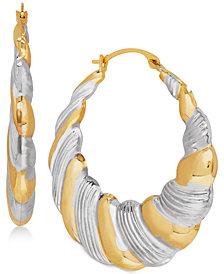 Two-Tone Puff Hoop Earrings in 14k Gold