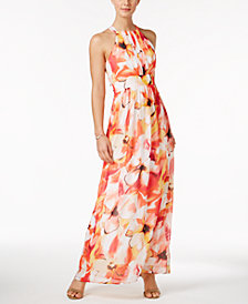 Nine West Pleated Floral-Print Maxi Dress