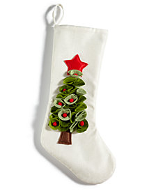 Holiday Lane Christmas Tree 3D Appliqué Stocking, Created for Macy's