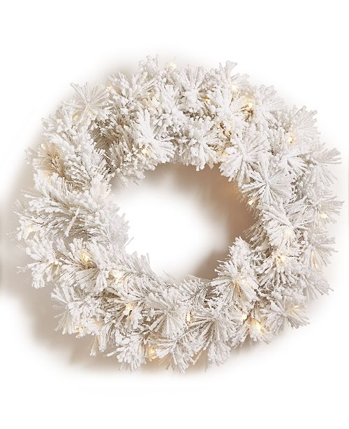 Holiday Lane Light-Up Snowy White Artificial Wreath, Created for Macy's