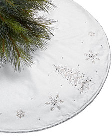 Holiday Lane Snowflake Sequin and Bead Tree Skirt, Created for Macy's