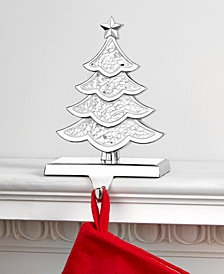 Holiday Lane Silver Glass Mosaic Tree Stocking Holder, Created for Macy's