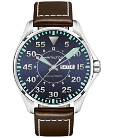 Hamilton Men's Swiss Automatic Khaki Aviation Brown Leather Strap Watch 46mm