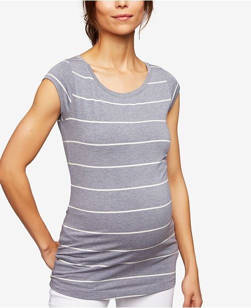 A Pea in the Pod Maternity Cap-Sleeve Striped T-Shirt