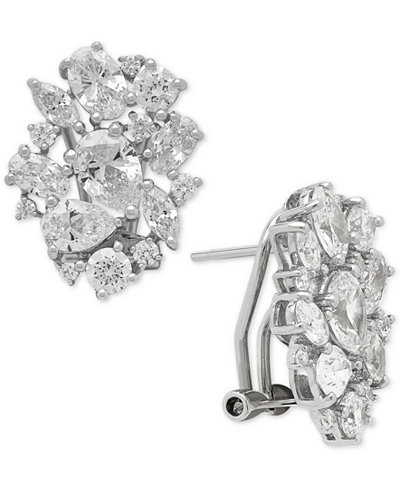 Arabella Swarovski Zirconia Cluster Stud Earrings in Sterling Silver