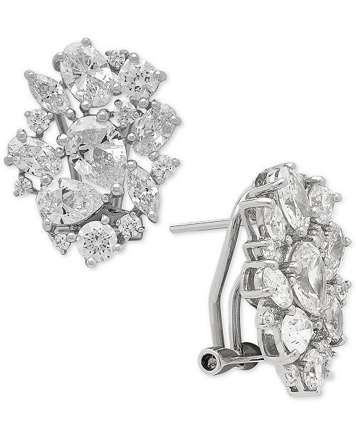Macy's Arabella Swarovski Zirconia Cluster Stud Earrings in Sterling Silver