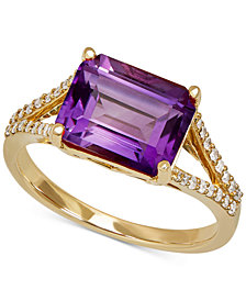 Amethyst (2-9/10 ct. t.w.) & Diamond (1/8 ct. t.w.) Ring in 14k Gold