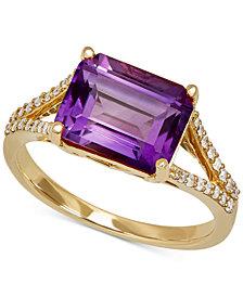 Amethyst (2-9/10 ct. t.w.) & Diamond (1/8 ct. t.w.) Ring in 14k Gold