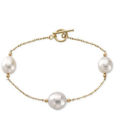 Cultured Freshwater Pearl (12mm) Toggle Bracelet in 14k Gold