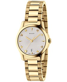 Women's Swiss G-Timeless Gold-Tone PVD Stainless Steel Bracelet Watch 27mm